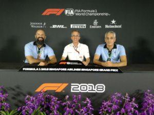 I 3 responsabili della Press Conference, io, Beppe e al centro Phil della FOM